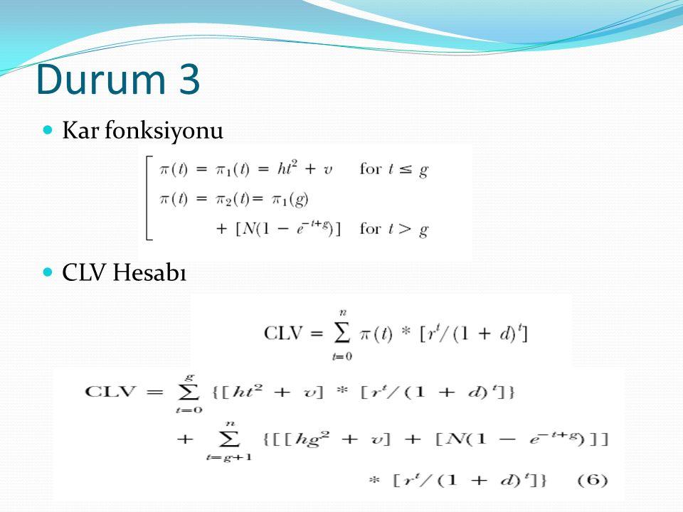 Durum 3 Kar fonksiyonu CLV Hesabı