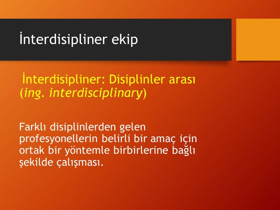 İnterdisipliner ekip İnterdisipliner: Disiplinler arası (ing. interdisciplinary)