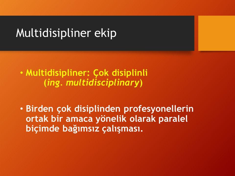 Multidisipliner ekip Multidisipliner: Çok disiplinli (ing. multidisciplinary)