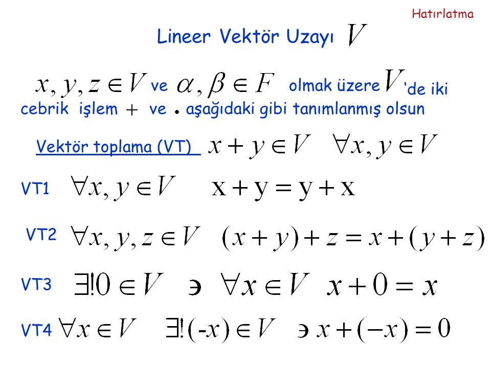 Lineer Vektör Uzayı 'de iki