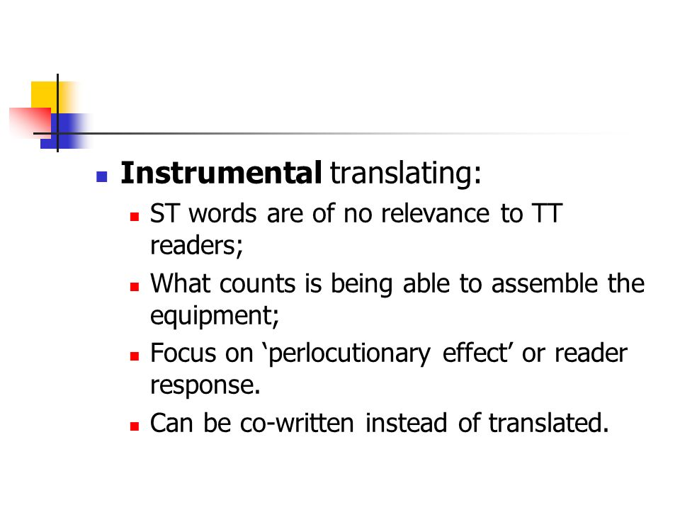 Instrumental translating: