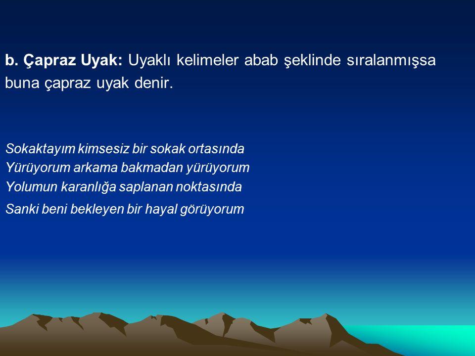 b. Çapraz Uyak: Uyaklı kelimeler abab şeklinde sıralanmışsa