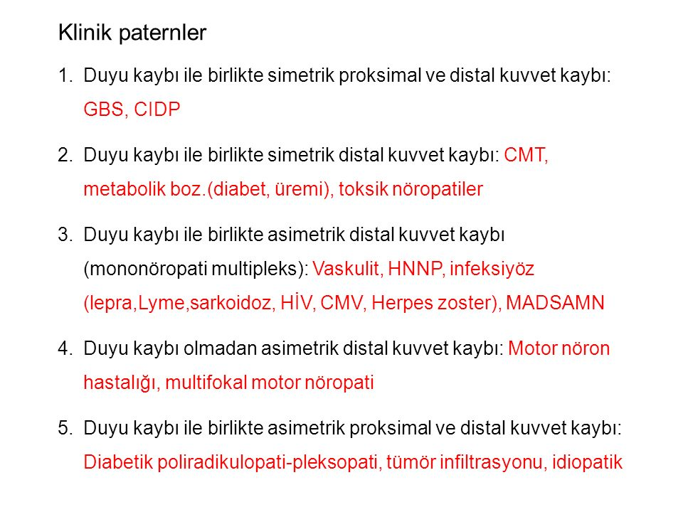 Klinik paternler Duyu kaybı ile birlikte simetrik proksimal ve distal kuvvet kaybı: GBS, CIDP.