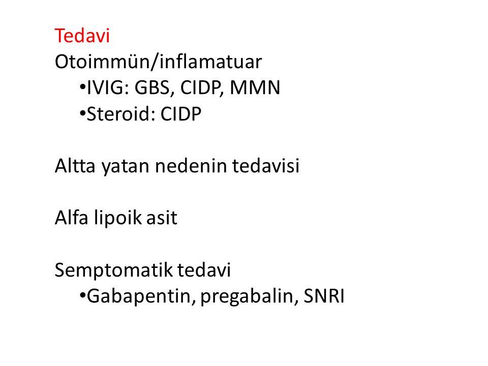 Tedavi Otoimmün/inflamatuar. IVIG: GBS, CIDP, MMN. Steroid: CIDP. Altta yatan nedenin tedavisi. Alfa lipoik asit.