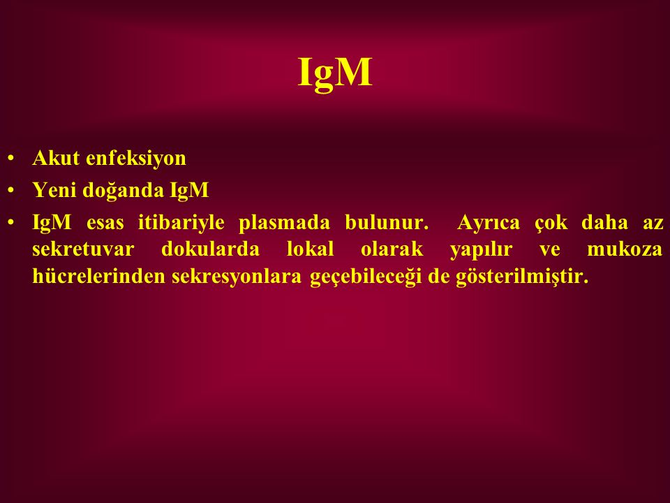 IgM Akut enfeksiyon Yeni doğanda IgM