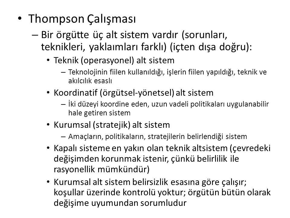 Thompson Çalışması Bir örgütte üç alt sistem vardır (sorunları, teknikleri, yaklaımları farklı) (içten dışa doğru):