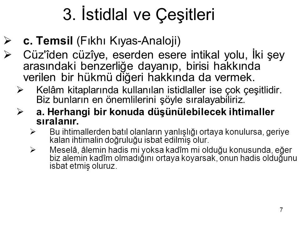 3. İstidlal ve Çeşitleri c. Temsil (Fıkhı Kıyas-Analoji)