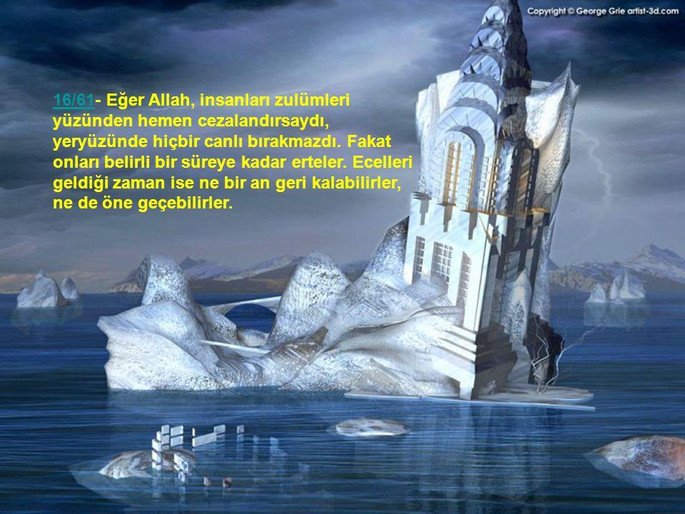 16/61- Eğer Allah, insanları zulümleri yüzünden hemen cezalandırsaydı, yeryüzünde hiçbir canlı bırakmazdı.