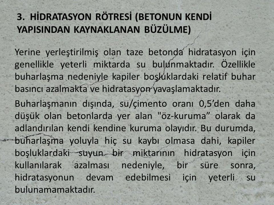 3. HİDRATASYON RÖTRESİ (BETONUN KENDİ YAPISINDAN KAYNAKLANAN BÜZÜLME)