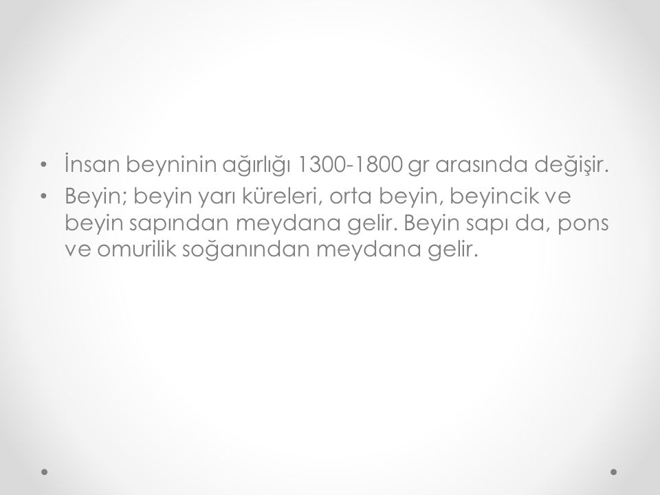 İnsan beyninin ağırlığı 1300-1800 gr arasında değişir.