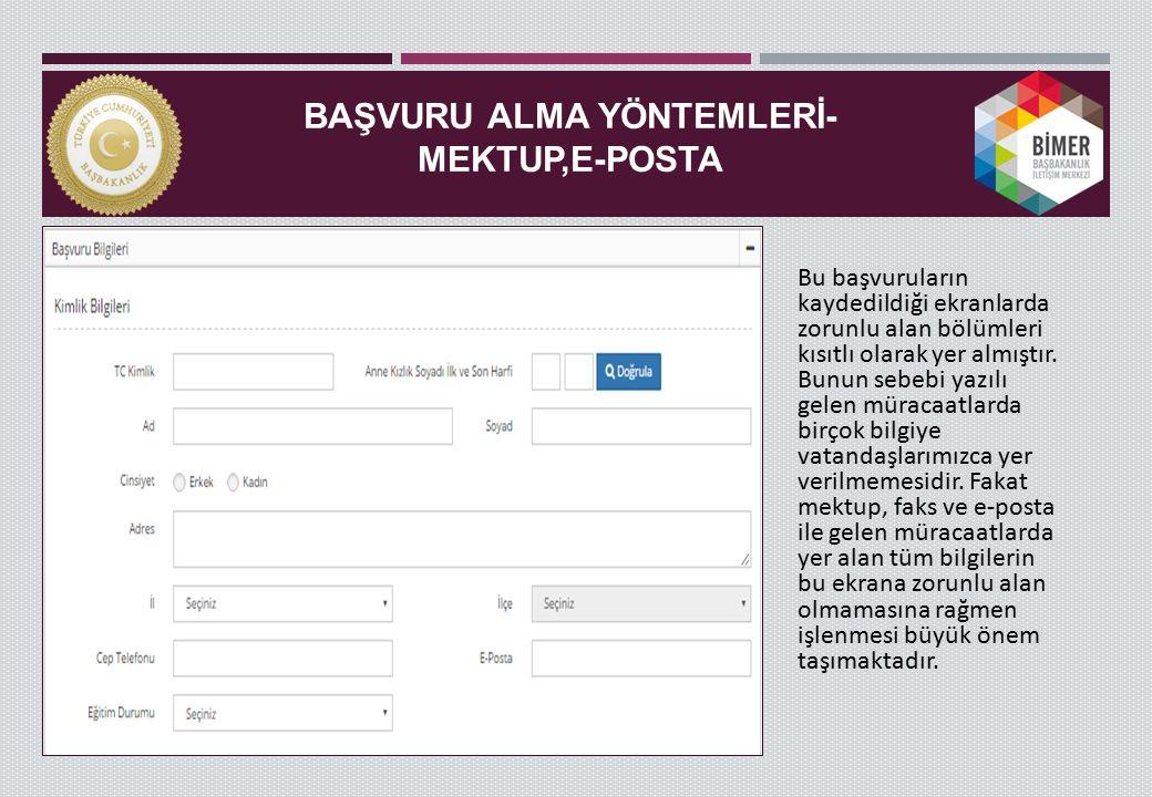 BAŞVURU ALMA YÖNTEMLERİ-MEKTUP,E-POSTA