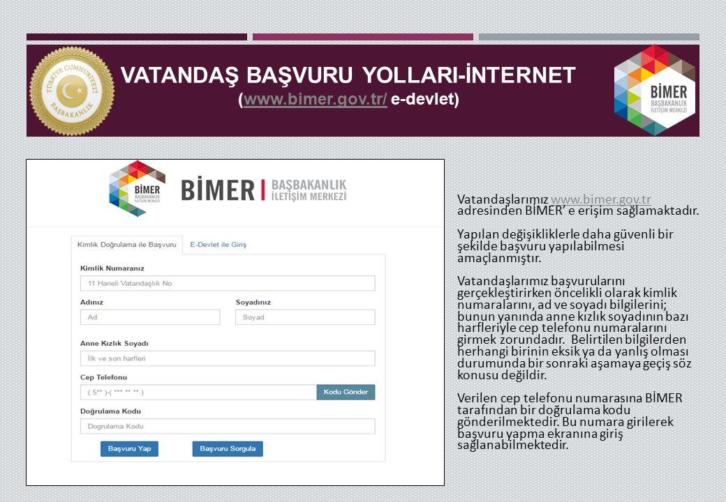 VATANDAŞ BAŞVURU YOLLARI-İNTERNET (www.bimer.gov.tr/ e-devlet)