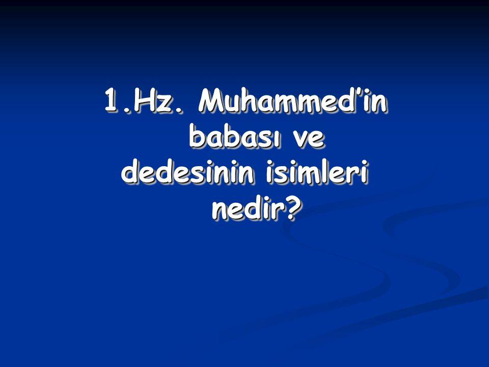 Hz. Muhammed'in babası ve dedesinin isimleri nedir