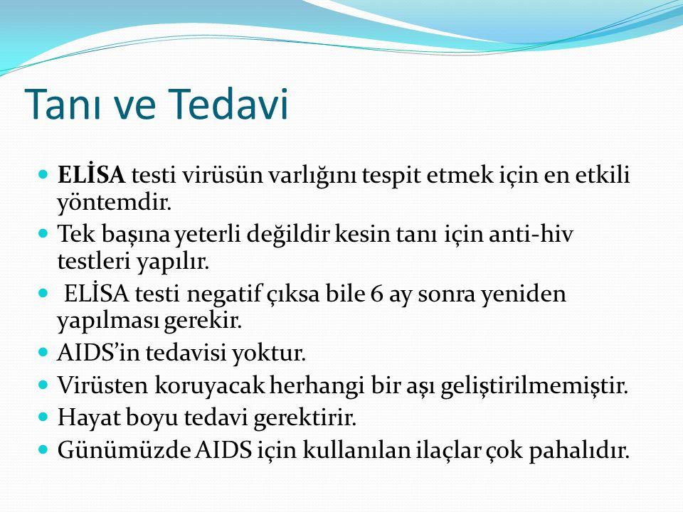 Tanı ve Tedavi ELİSA testi virüsün varlığını tespit etmek için en etkili yöntemdir.