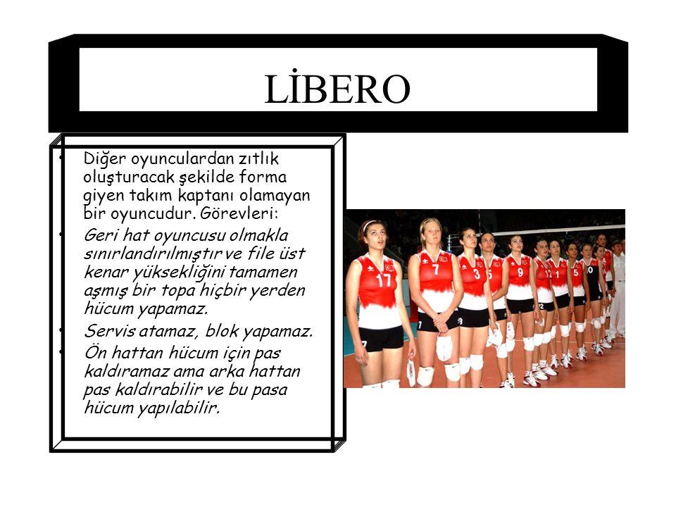 LİBERO Diğer oyunculardan zıtlık oluşturacak şekilde forma giyen takım kaptanı olamayan bir oyuncudur. Görevleri: