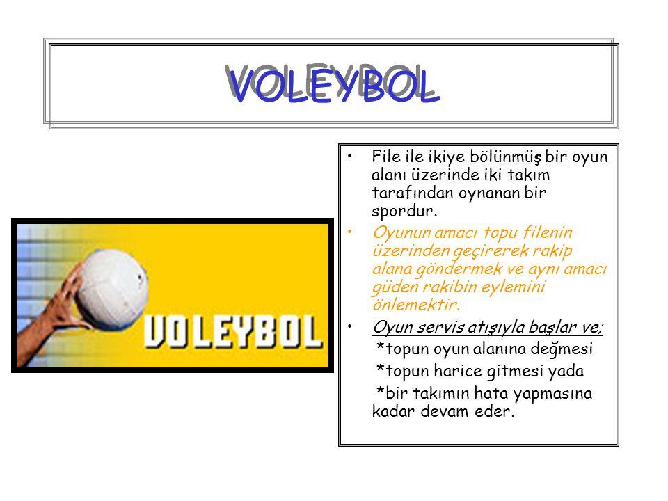 VOLEYBOL File ile ikiye bölünmüş bir oyun alanı üzerinde iki takım tarafından oynanan bir spordur.