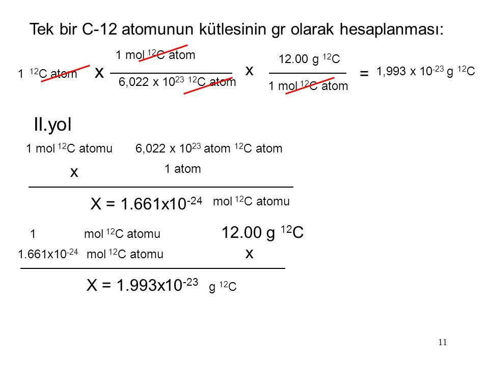 x II.yol Tek bir C-12 atomunun kütlesinin gr olarak hesaplanması: x =