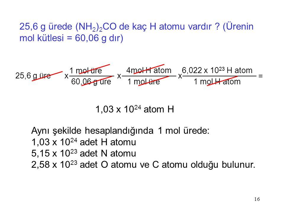 Aynı şekilde hesaplandığında 1 mol ürede: 1,03 x 1024 adet H atomu