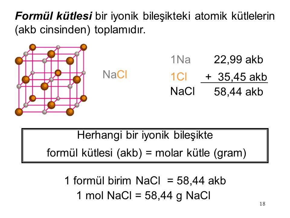Formül kütlesi bir iyonik bileşikteki atomik kütlelerin