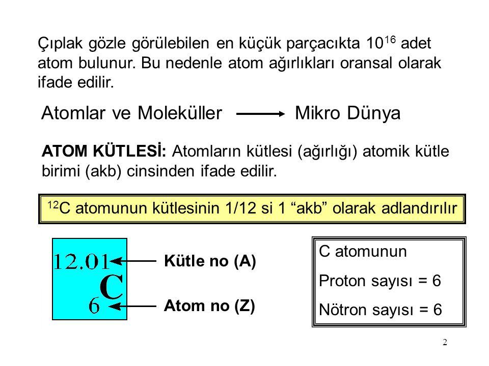 12C atomunun kütlesinin 1/12 si 1 akb olarak adlandırılır