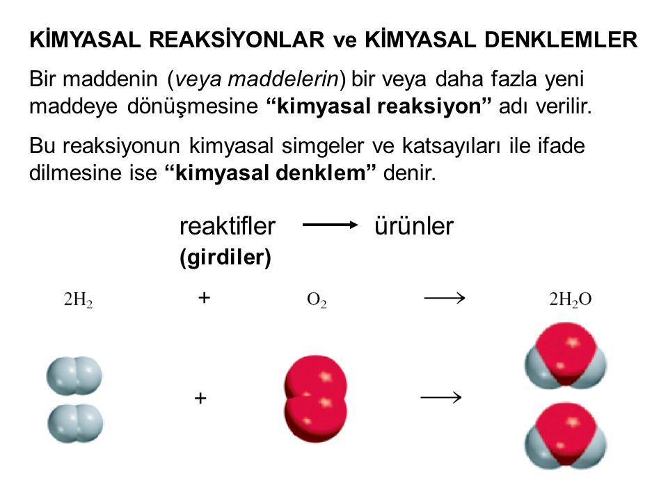 reaktifler ürünler KİMYASAL REAKSİYONLAR ve KİMYASAL DENKLEMLER
