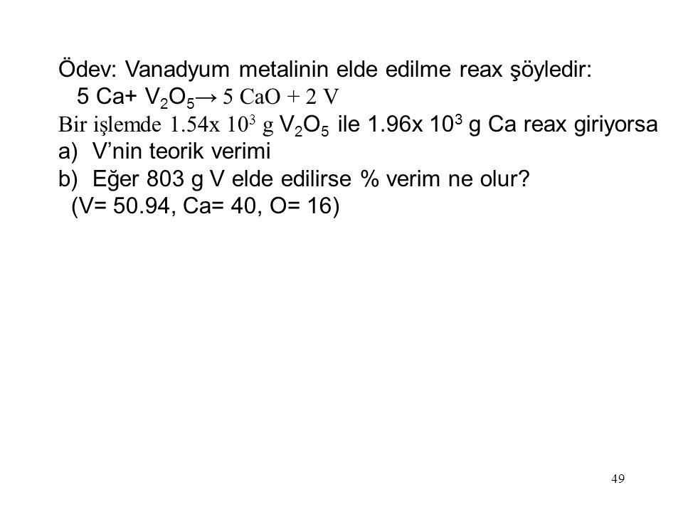 Ödev: Vanadyum metalinin elde edilme reax şöyledir:
