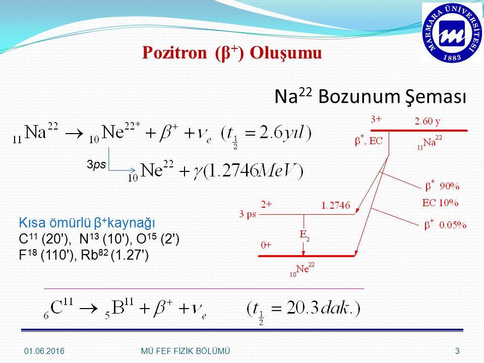 Na22 Bozunum Şeması Pozitron (β+) Oluşumu