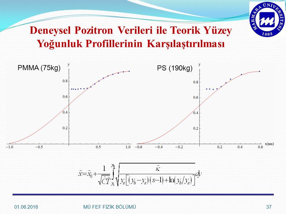Deneysel Pozitron Verileri ile Teorik Yüzey Yoğunluk Profillerinin Karşılaştırılması