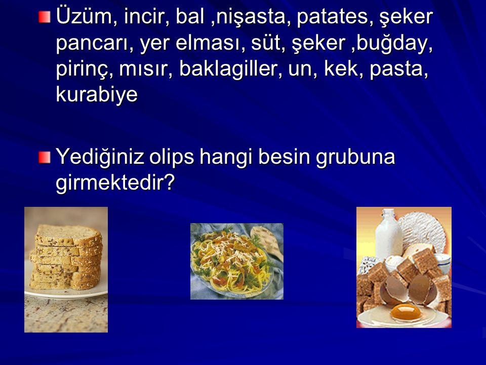 Üzüm, incir, bal ,nişasta, patates, şeker pancarı, yer elması, süt, şeker ,buğday, pirinç, mısır, baklagiller, un, kek, pasta, kurabiye
