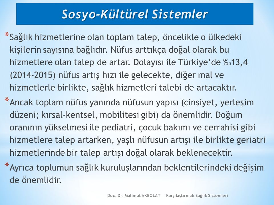 Sosyo-Kültürel Sistemler