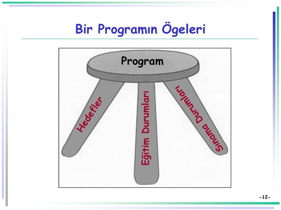 Bir Programın Ögeleri Program Sınama Durumları Hedefler