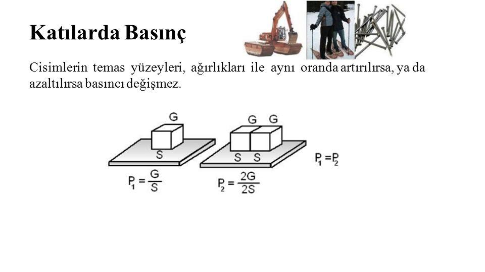 Katılarda Basınç Cisimlerin temas yüzeyleri, ağırlıkları ile aynı oranda artırılırsa, ya da azaltılırsa basıncı değişmez.