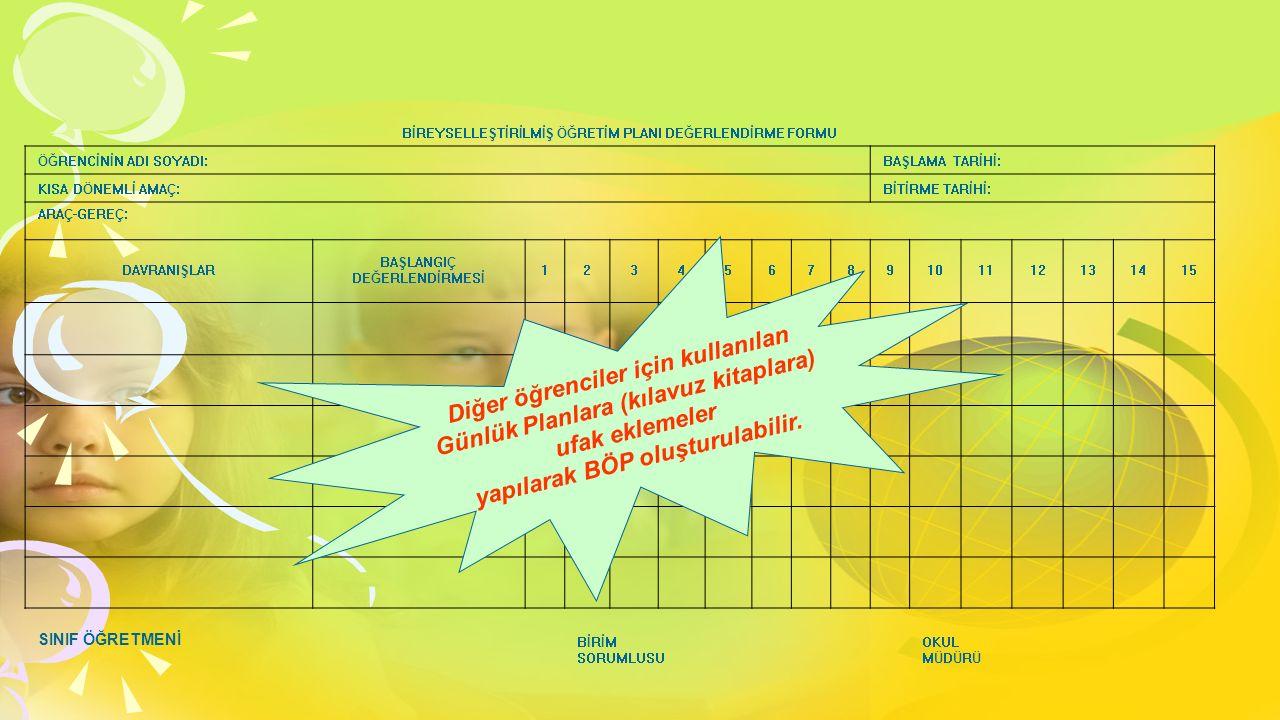Diğer öğrenciler için kullanılan Günlük Planlara (kılavuz kitaplara)