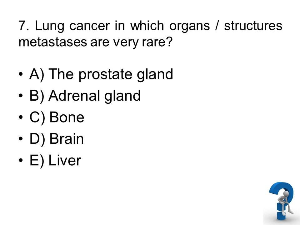7. Lung cancer in which organs / structures metastases are very rare