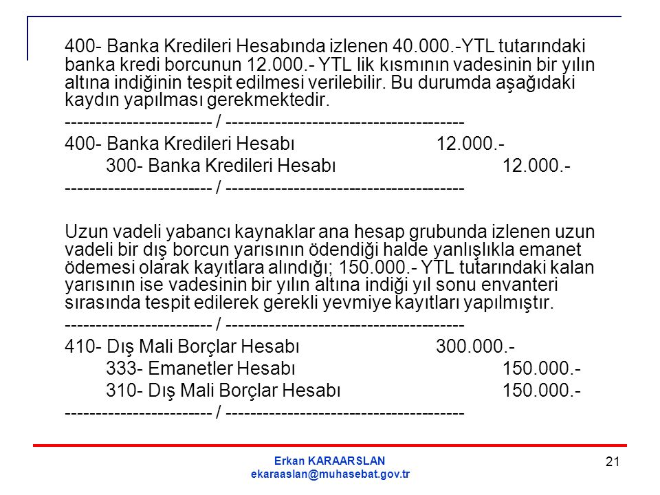 400- Banka Kredileri Hesabında izlenen 40. 000