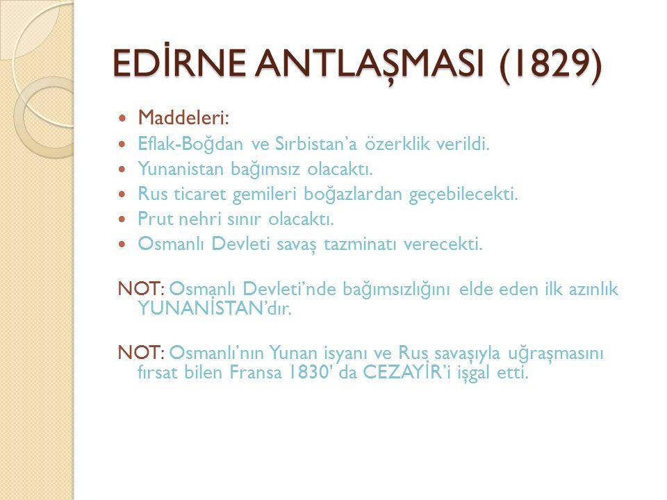 EDİRNE ANTLAŞMASI (1829) Maddeleri: