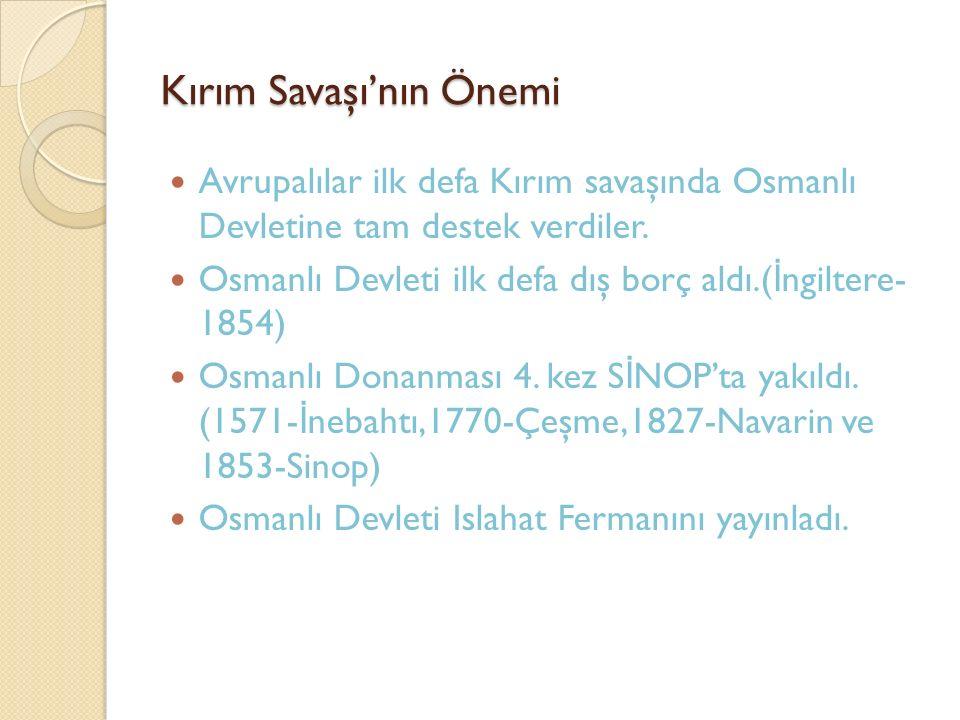 Kırım Savaşı'nın Önemi