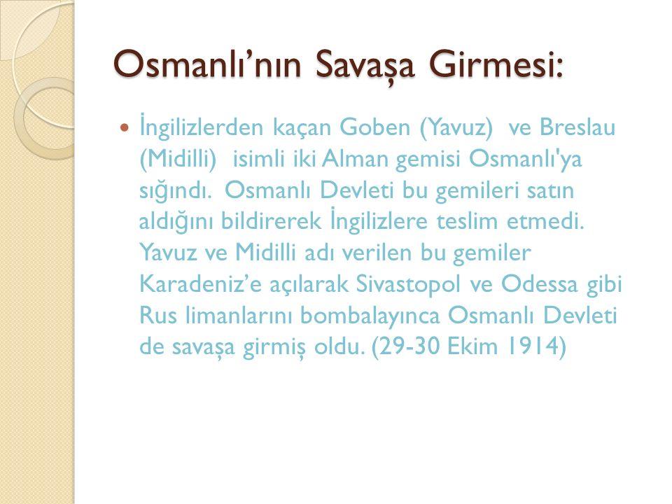 Osmanlı'nın Savaşa Girmesi: