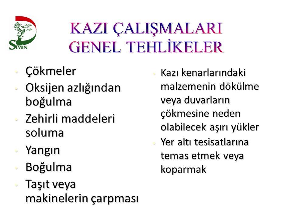 KAZI ÇALIŞMALARI GENEL TEHLİKELER