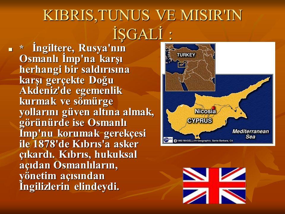 KIBRIS,TUNUS VE MISIR IN İŞGALİ :