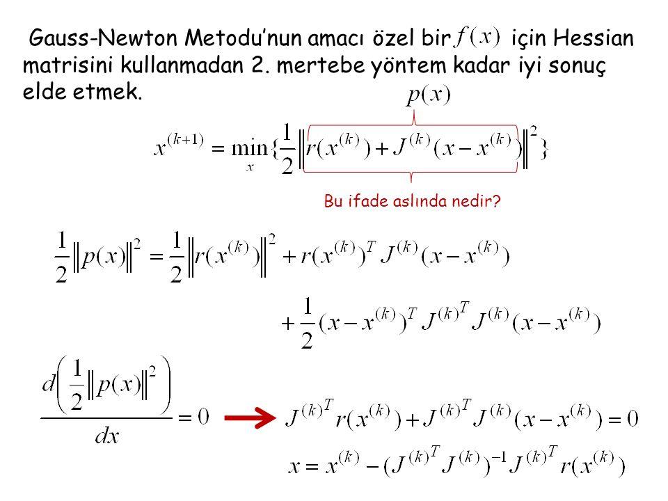 Gauss-Newton Metodu'nun amacı özel bir için Hessian matrisini kullanmadan 2. mertebe yöntem kadar iyi sonuç elde etmek.