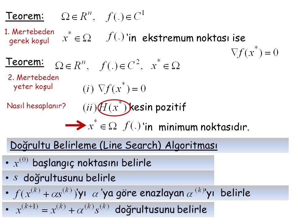 'in ekstremum noktası ise Teorem:
