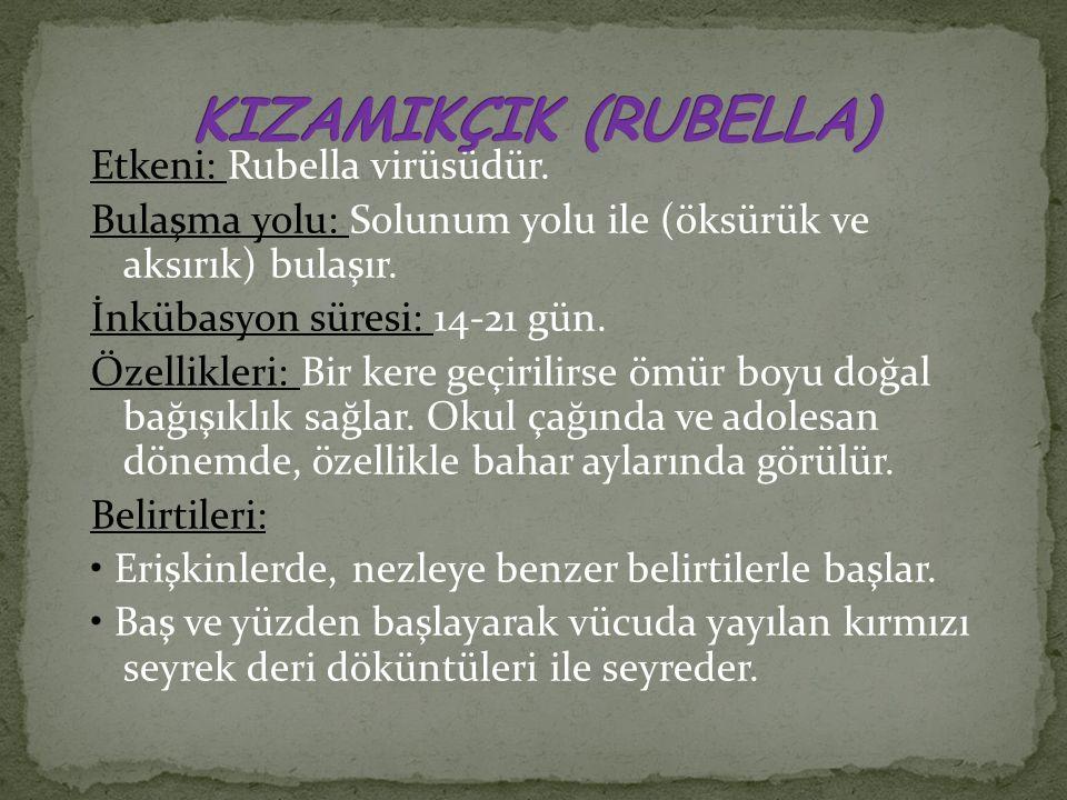 Etkeni: Rubella virüsüdür