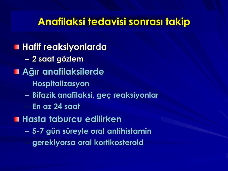 Anafilaksi tedavisi sonrası takip