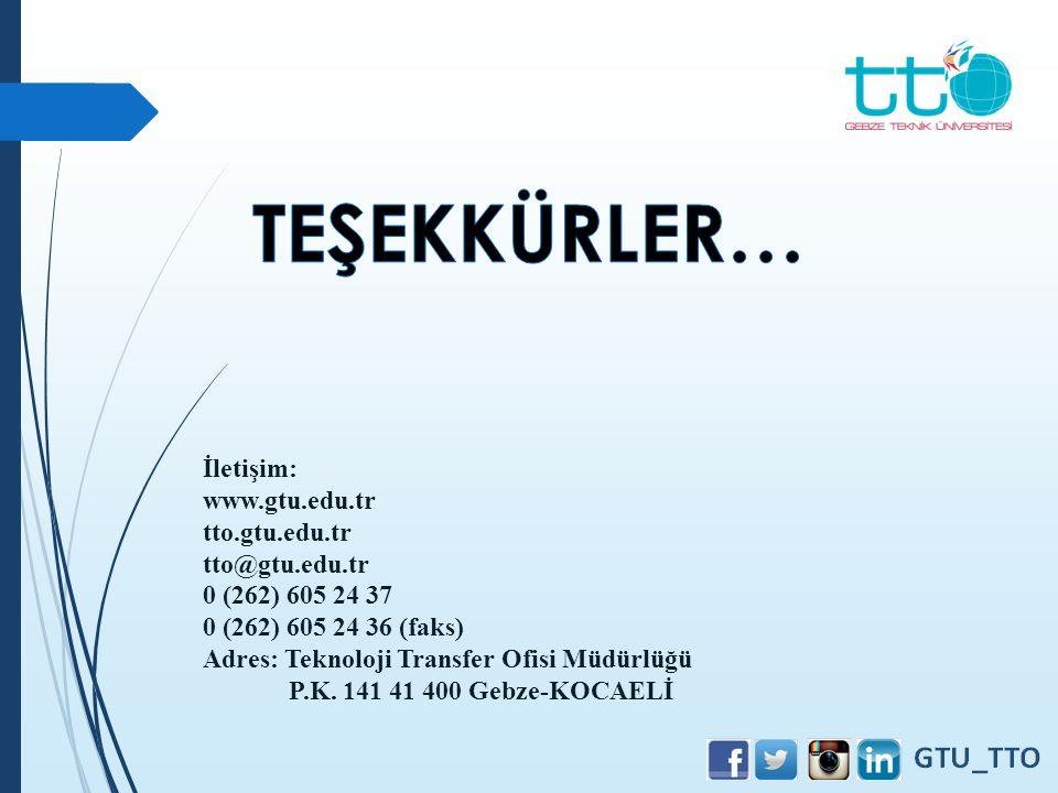 TEŞEKKÜRLER… İletişim: www.gtu.edu.tr tto.gtu.edu.tr tto@gtu.edu.tr