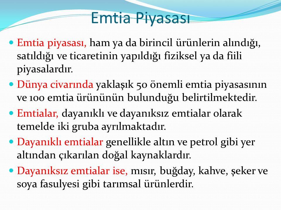 Emtia Piyasası Emtia piyasası, ham ya da birincil ürünlerin alındığı, satıldığı ve ticaretinin yapıldığı fiziksel ya da fiili piyasalardır.