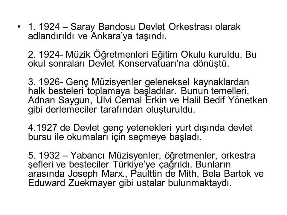 1. 1924 – Saray Bandosu Devlet Orkestrası olarak adlandırıldı ve Ankara'ya taşındı.