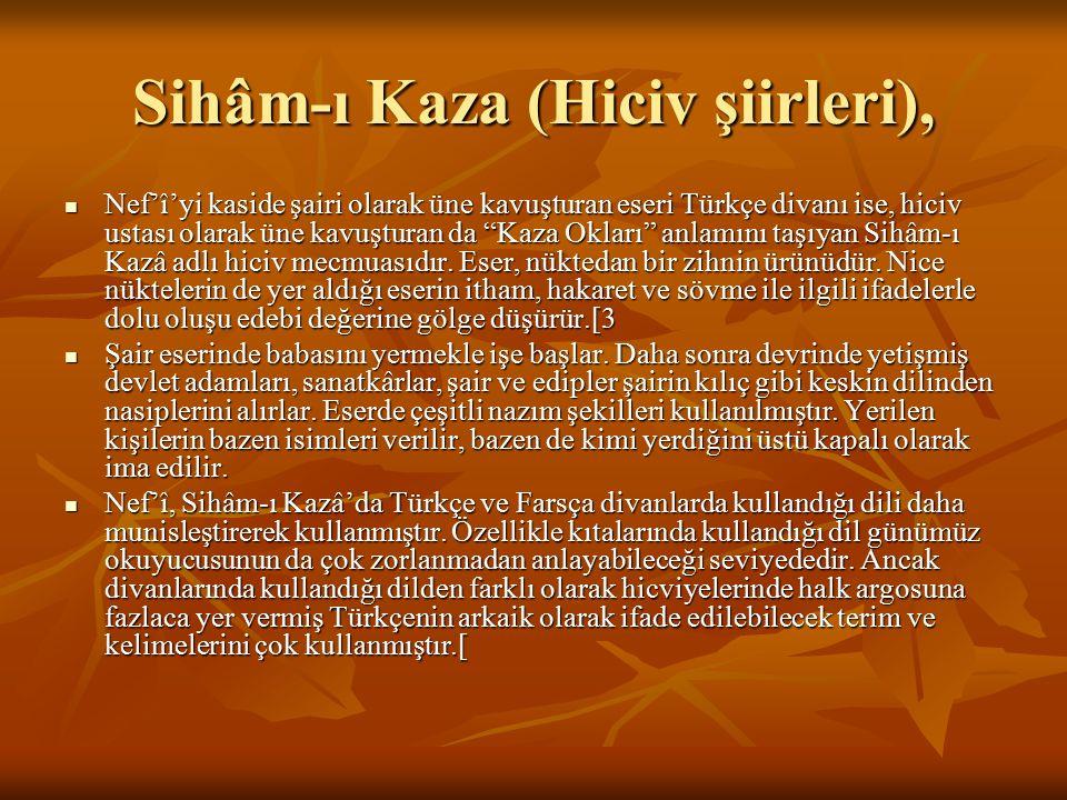 Sihâm-ı Kaza (Hiciv şiirleri),