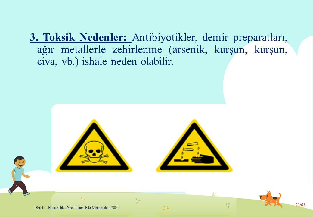 3. Toksik Nedenler: Antibiyotikler, demir preparatları, ağır metallerle zehirlenme (arsenik, kurşun, kurşun, civa, vb.) ishale neden olabilir.