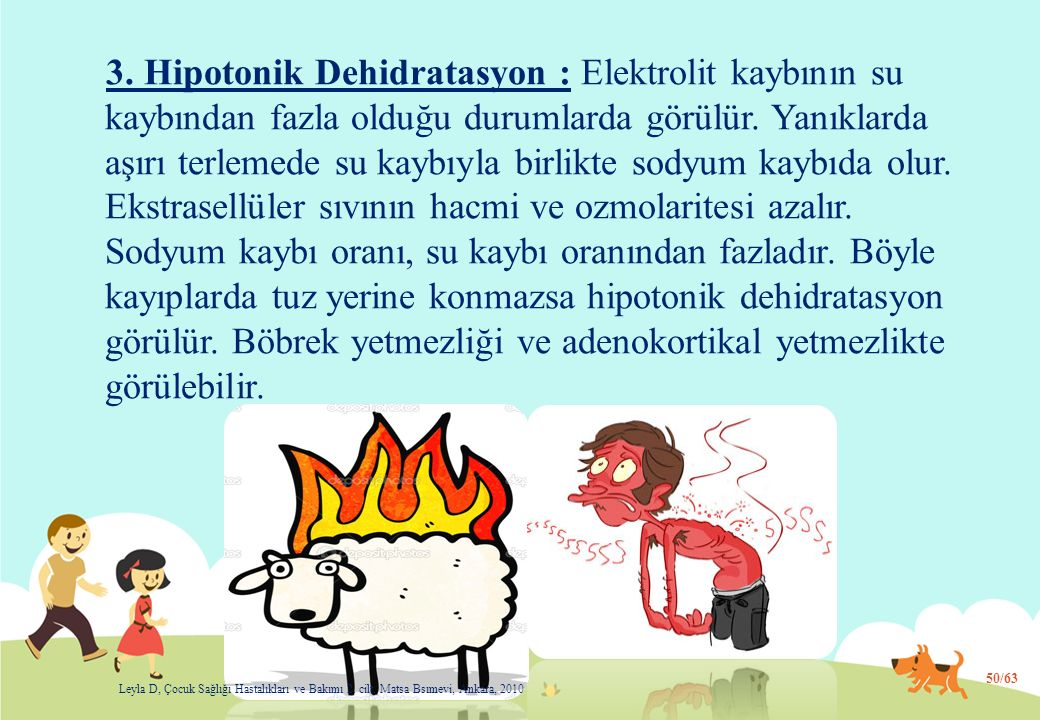 3. Hipotonik Dehidratasyon : Elektrolit kaybının su kaybından fazla olduğu durumlarda görülür. Yanıklarda aşırı terlemede su kaybıyla birlikte sodyum kaybıda olur. Ekstrasellüler sıvının hacmi ve ozmolaritesi azalır. Sodyum kaybı oranı, su kaybı oranından fazladır. Böyle kayıplarda tuz yerine konmazsa hipotonik dehidratasyon görülür. Böbrek yetmezliği ve adenokortikal yetmezlikte görülebilir.
